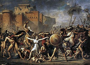 Titus Tatius - The Intervention of the Sabine Women, by Jacques-Louis David, depicts Titus Tatius at the left.