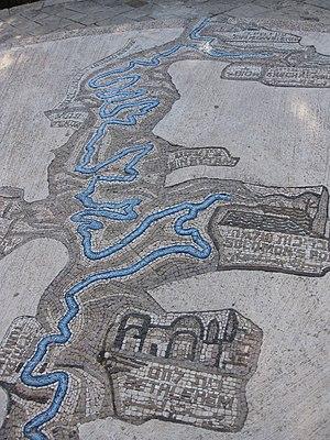 Talpiot - Mosaic map of the aqueducts in E. Talpiot, near the UN Headquarters (Armon HaNetziv)