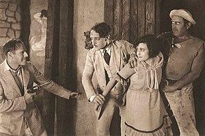 Clarence Burton - Jack Holt, Jean De Briac, Sylvia Breamer, and Clarence Burton in The Man Unconquerable (1922)