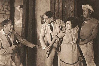 Clarence Burton - Jack Holt, Jean De Briac, Sylvia Breamer, and Clarence Burton in The Man Unconquerable (1922)