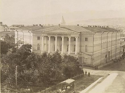 In 1894 Stalin began his studies at the Tiflis Spiritual Seminary (pictured here in the 1870s) The Orthodox Theological Seminary.jpg