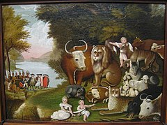 The Peaceable Kingdom, circa 1833, by Edward Hicks (1780-1849) - Worcester Art Museum - IMG 7682