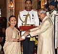 The President, Shri Pranab Mukherjee presenting the Padma Shri Award to Ms. Anuradha Koirala, at the Civil Investiture Ceremony, at Rashtrapati Bhavan, in New Delhi on April 13, 2017.jpg