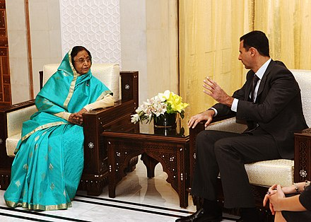 Assad with Indian President Pratibha Patil in Damascus in 2010 The President, Smt. Pratibha Devisingh Patil meeting the President of Syrian Arab Republic, Dr. Bashar al Assad, at the Presidential Palace, at Damascus in Syria on November 27, 2010.jpg