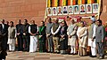 The Prime Minister, Shri Narendra Modi and other senior leaders pay homage to the martyrs of 2001 Parliament attack, at Parliament building, in New Delhi on December 13, 2015.jpg
