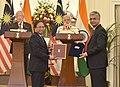 The Prime Minister, Shri Narendra Modi and the Prime Minister of Malaysia, Dato' Sri Mohd Najib Bin Tun Abdul Razak witnessing the exchange of agreements, at Hyderabad House, in New Delhi on April 01, 2017 (4).jpg