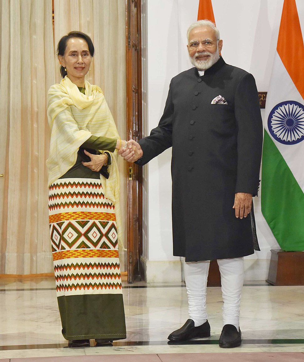 The Prime Minister, Shri Narendra Modi receiving the State Counsellor of Myanmar, Aung San Suu Kyi, in Hyderabad House, New Delhi on January 24, 2018