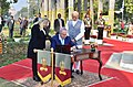 The Prime Minister of Israel, Mr. Benjamin Netanyahu signing the visitors' book at Teen Murti Chowk, in New Delhi on January 14, 2018. The Prime Minister, Shri Narendra Modi is also seen.jpg