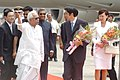The Prime Minister of Japan, Mr. Shinzo Abe and Mrs. Akie Abe being received by the Chief Minister of West Bengal, Shri Buddhadeb Bhattacharya, at Netaji Subhash Chandra Bose Airport, Kolkata on August 23, 2007.jpg
