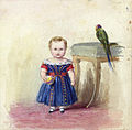 The Prince of Wales with a parrot by Queen Victoria.jpg