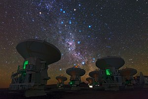 Very-long-baseline interferometry - Some of the Atacama Large Millimeter Array radio telescopes.