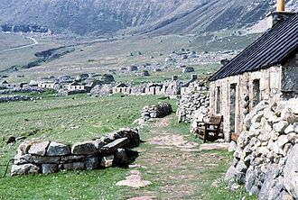 St Kilda, Scotland - The Village Street showing restoration work