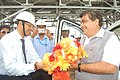 The Union Minister for Road Transport & Highways and Shipping, Shri Nitin Gadkari being welcomed by the IOCL Officers at the South Oil Jetty of IOCL Refinery in Paradip Port, Odisha on July 10, 2015.jpg