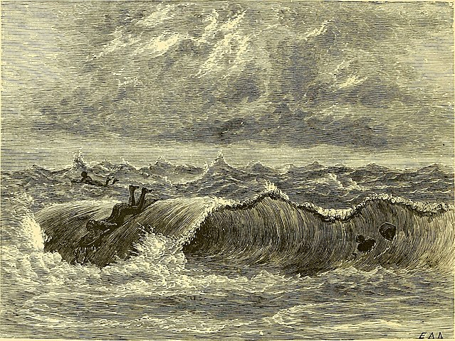 surfing illustration from The boy travellers in Australasia by T. W. Knox (1889) – Hawaiian Ancient Surfing