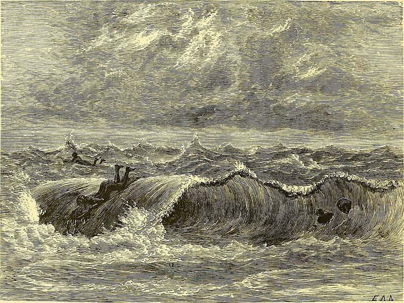 Thomas Knox's Surf-Bathing at Hilo Illustration