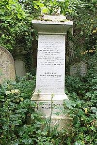 The grave of James Braidwood, Abney Park Cemetery, London.jpg