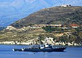 The guided missile destroyer USS Ross, DDG-71, arrives in Souda Bay for a brief port visit.jpg