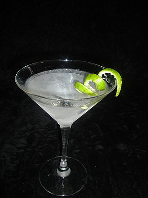 Bartending terminology - A martini served straight up, with a lime twist