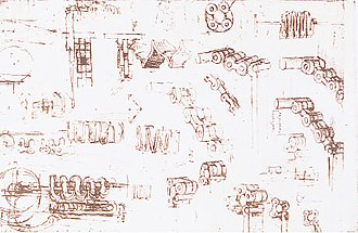 Chain drive - Sketch of roller chain by Leonardo da Vinci