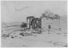 A black and white copy of a sketch showing a Roman temple in ruins in three-quarters view. A tree growing within its walls.