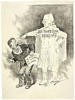 Term limits in the United States - A political cartoon about Theodore Roosevelt's third term