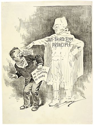 Term limits in the United States - A political cartoon showing Washington rejecting Theodore Roosevelt's highly controversial run for a third term in 1912