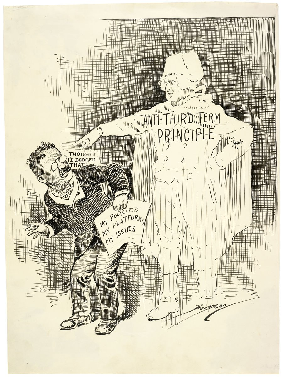 Theodore Roosevelt's third term political cartoon