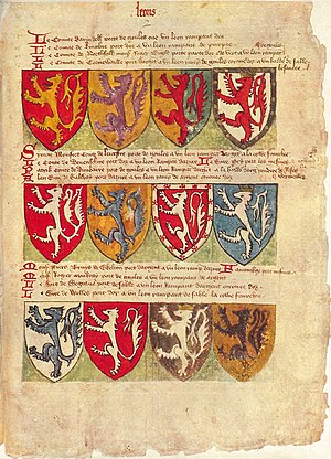 Ordinary of arms - Thomas Jenyns' Book, an English ordinary of arms compiled in c.1398. This page shows a sequence of coats of arms featuring lions rampant. British Library, Add. MS 40851.