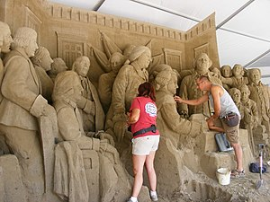 Pittsburgh Three Rivers Regatta - Artists working on an annual sand sculpture for the Regatta