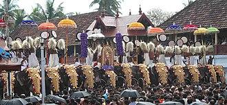History and culture of Thrippunithura - Caparisoned elephants during Sree Poornathrayesa temple