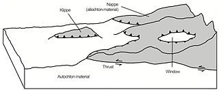 A large sheetlike body of rock that has been moved a considerable distance above a thrust fault