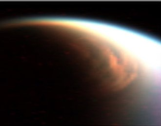 Atmosphere of Titan - A cloud imaged in false color over Titan's north pole.