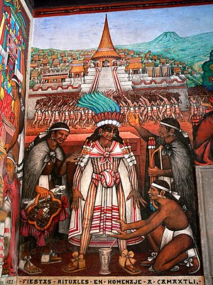Desiderio Hernández Xochitiotzin - Section of State Palace mural depicting the emperor Camaxtli.