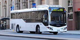Torrens Transit - Custom Coaches bodied Iveco Metro on Currie Street in June 2014