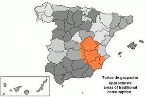 Torta de gazpacho - Approximate areas of traditional Torta de Gazpacho consumption in Spain