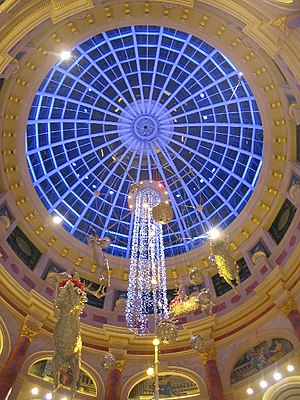 Trafford Centre - Looking up into the main dome of the Trafford Centre, decorated at a cost of £5 million