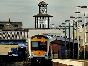 Portrush railway station - NIR Class 3000 train at Portrush in 2012