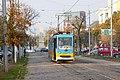 Tram in Sofia near Russian monument 004.jpg