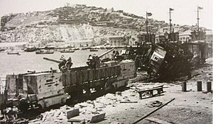 "Licata - Remains of the Italian Navy armored train ""T.A. 76/2/T"", destroyed by USS Bristol while opposing the landing at Licata."