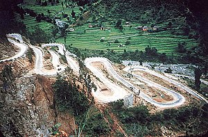 Nepal Transport Service - Hairpin bends known as Barha Ghumti on Tribhuvan Highway which connects Kathmandu with India.