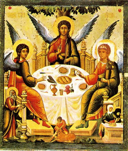 Russian icon of the Holy Trinity Trinity tikhon filatiev.jpg