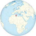 Tunisia on the globe (North Africa centered).svg