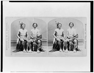 William H. Illingworth - A stereocard of two Winnebago men photographed by William H. Illingworth.