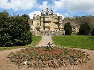 Tyntesfield - View from the eastern formal gardens looking up towards the house, April 2008