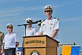U.S. Navy Commodore James Aiken, at lectern, the commander of Destroyer Squadron 60 and the director of exercise Sea Breeze 2014, speaks during the opening ceremony for the exercise aboard the guided missile 140908-N-IY142-185.jpg