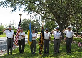 "Cpl. Roman G. Lazor Post 40, North Port, Florida. ""Salute to the Veterans"" L to R; Commander Ihor Hron, Jerry Zinycz PPC, John Homick, Julian Helbig, Col. Roman Rondiak (Ret), George Baranowskyj DDS. Photo by Jerry Zinycz."