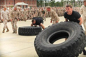Interservice rivalry - Marines and sailors compete in a Strong-Man Competition