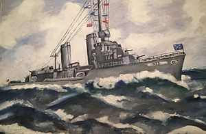 USS Gleaves (DD-423) - An original oil painting of USS Gleaves