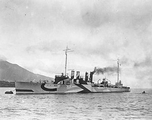 USS Kimberly (DD-80) tied to a mooring buoy, in 1918 (NH 51080)