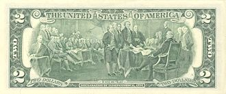John Trumbull - Reverse of U.S. two-dollar bill, featuring Trumbull's Declaration of Independence
